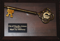 "The ""Key to the City"" that was given to the Si Se Puede Foundation as a result of their tireless efforts to improve the community. Photo by Matt Lewis / The Gilbert Gumption Copyright 2019."
